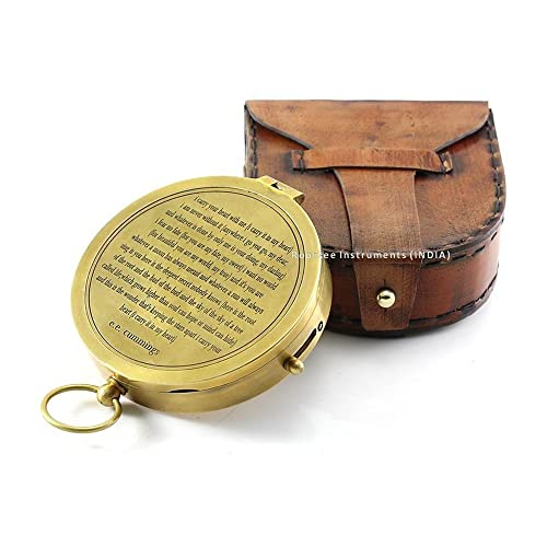 fb5f5fb1202 Valentines Gift idea Vintage Brass Compass with Handmade Leather Case E.E.  Cummings Directional Magnetic Compass