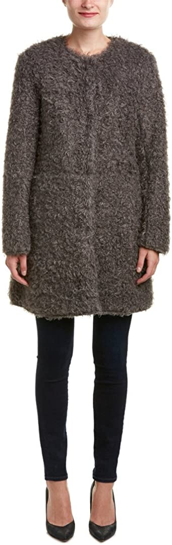 VIA SPIGA Women's Mid-Length Reversible Faux Fur Curly Coat