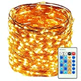 HaMi 66ft 200 LED String Lights,Waterproof Christmas Lights Fairy Lights, Decorative Copper Wire Lights for Bedroom,Patio,Wedding,Party - Warm White