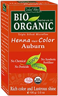 Indus Valley BIO Organic Natural Auburn Henna Hair Color For Grey Hairs-100gm