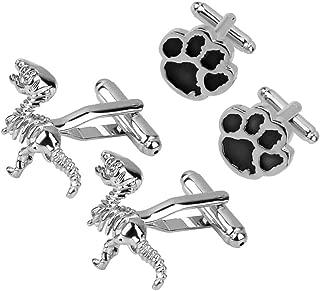 2 Pair Copper Silver Cufflinks Animal Pattern Cuff Links Novelty Jewelry