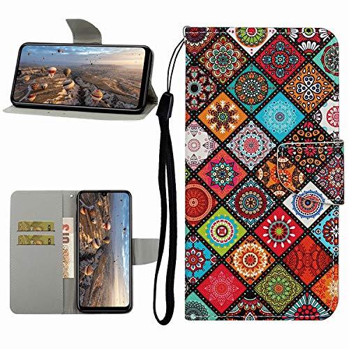 Miagon Hülle für Xiaomi Redmi Note 9S,Handyhülle PU Leder Brieftasche Schutz Flip Case Wallet Cover Klapphüllen Tasche Etui mit Kartenfächern Stand,Totem Blume