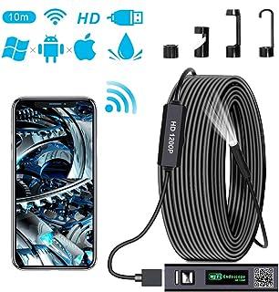 Mac Tablet Windows Endoscopio WiFi Telecamera Ispezione USB 2.0 Megapixel 1200P HD Boroscopio Snake Camera con 8 luci LED IP68 Impermeabile Semi-Rigido Cavo per Android e iOS