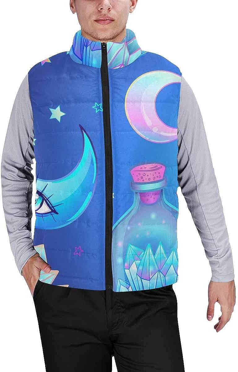 InterestPrint Men's Winter Lightweight Sleeveless Padded Vest Magical Elements Moon, Crystals S