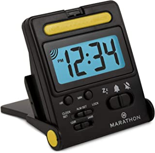 Marathon Basics CL030010BK Travel Alarm Clock, Easy to use, Easy to Set - Battery Included - Color - Midnight Black