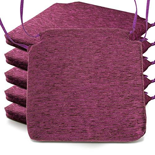 BCASE Pack de 6 Cojines de Asiento Espuma Fantasy, 40x40cm, Desenfundable con Cremallera, Cómodos, Resistentes, Fácil de Limpiar, para Cocina, Cuarto, Etc. Morado Oscuro