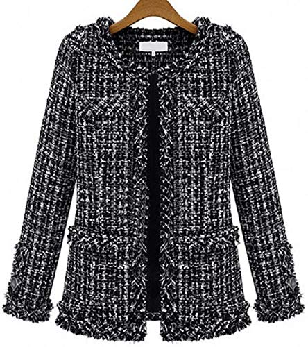 RAINATTY Women's Open Front Slim Fit Cardigan Autumn Tweed Blazer Coat
