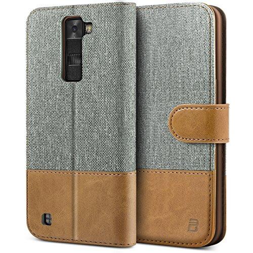 BEZ® LG K8 Hülle, Handyhülle Kompatibel für LG K8, Handytasche Schutzhülle Tasche Flip Case [Stoff BEZ®ug & PU Leder] mit Kreditkartenhaltern, Grau
