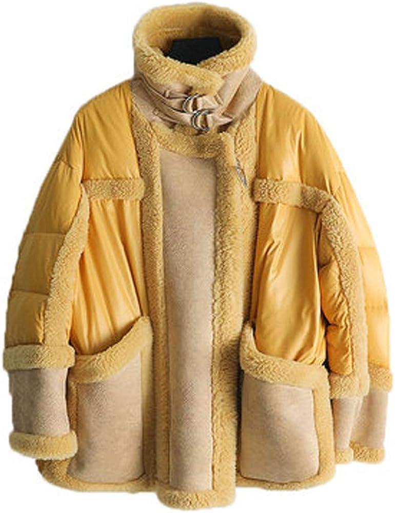 2019 New Women's Faux Fur Coat Long Wool Coat Shearling Coat Yellow Down Jacket Womens Winter Coats