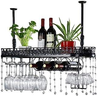 DJSMjbj Organisation de rangement de cuisine en métal à suspendre au plafond pour bouteille de vin facile à installer (tai...