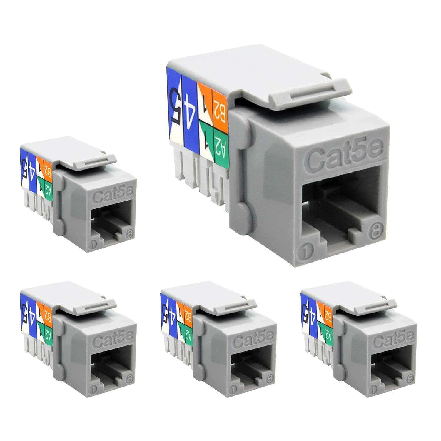 Beszin Some reservation Cat.5E RJ45 110 Type 5-Pack Gray Selling and selling Keystone Jack