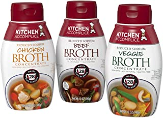 Kitchen Accomplice Chicken, Beef, & Vegetable Broth Variety Pack, 12 Oz (Pack of 3) (KACHBFVG3PK)