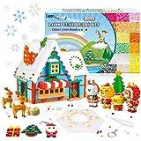 LIHAO 14000pz Perline da Stirare Fusione Midi 5mm Colorate per Decorazioni Natale Regalo, Fai Da Te, Kit Gioco Creativo Natalizio per Bambini Adulti