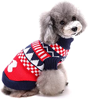 Ranphy Small Dog Christmas Sweater Pet Turtleneck Jumper Puppy Knitwear Apparel Cold Weather Jacket Chihuahua Clothes Xmas Girls Boys for Autumn Winter