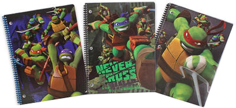 Licensed New Orleans Mall Character half Spiral Notebook 3 pc Set Ninj Teenage Mutant