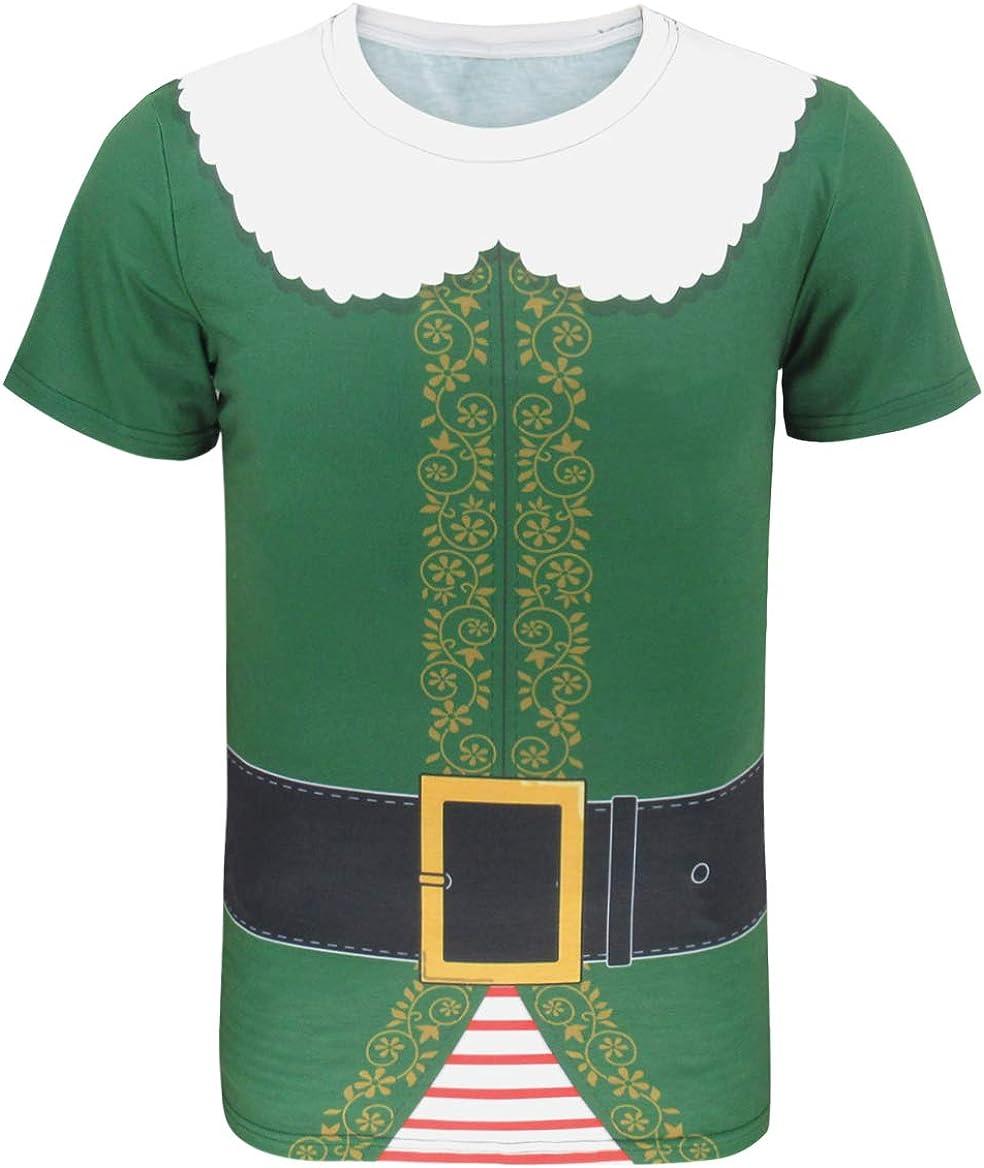 COSAVOROCK Disfraz de Pap/á Noel Elfo para Hombre Camiseta
