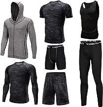 Trainingskleidung für Herren Kompressionshose Hosen, 3er Pack Tshirt 2er Pack Shorts 7 Stück Herren Trainingsbekleidung mit Outwear für Radfahren Laufen Gym Fitness ( Color : Black , Size : L )
