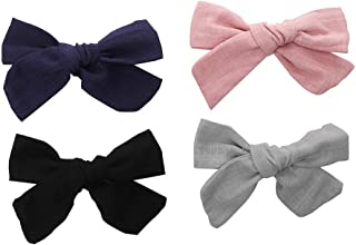 4 inches Bows For Girls Linen Fabric Hair Clips For Kids Toddlers Teens Children Gifts