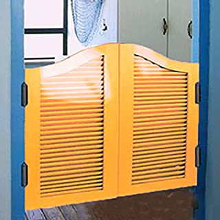 GuoWei Louvered Wooden Swinging Door Cafe Bar Entrance Kitchen Indoor Use Hinges Included, Customizable (Color : Yellow, Size : 90cmx90cm)
