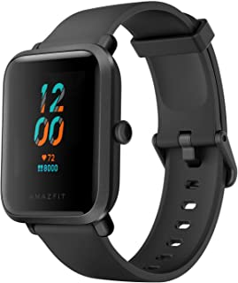 Amazfit Smartwatch Bip S Fitness Smart Watch, 40 Day Battery Life, 10 Sports Modes, Heart Rate, 1.28'' Always-On Display, Water Resistant, Built-in GPS (Black)