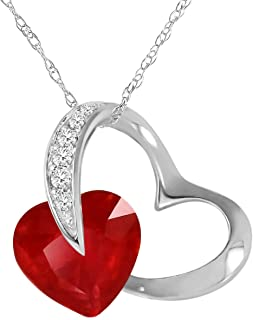 """Galaxy Gold 14k 18"""" Solid White Gold Heart Design Necklace 4.4 Ct Diamond & Ruby"""