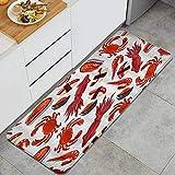 SURERUIM Alfombra de Cocina, Filetes de salmón Camarones Cangrejos Calamares Nigiri japonés Sushi con almejas y atún,tapete Decorativo para Piso de Cocina con Respaldo Antideslizante, 47'x17'