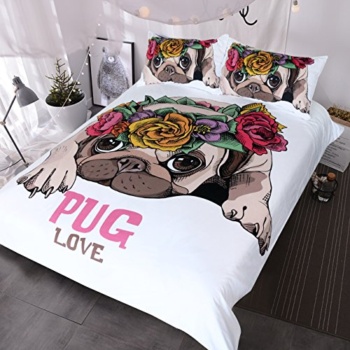 BlessLiving Trendy Puppy Bedding Love Pug Rose Bed Set Sweet Kawaii Duvet Cover for Dog Lover(Single)