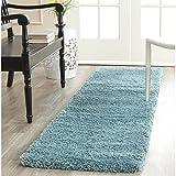 Safavieh Milan Shag Collection SG180-6060 Aqua Blue Runner (2' x 6')