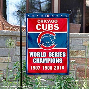 WinCraft Chicago Cubs 3-Time World Series Champions Double Sided Garden Flag