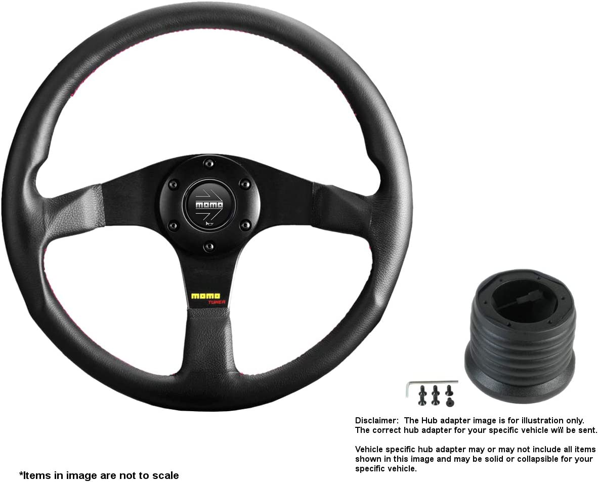 MOMO Tuner Black 350mm 13.78 Inches Max 53% OFF Leather B Wheel w Classic Steering