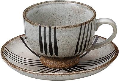 山下工芸 カップ_ソーサー 陶器 φ8.5×6cm(180cc) 粉引十草コーヒー碗と受皿 15051000