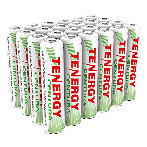 Tenergy Centura AAA NIMH Rechargeable Battery, 800mAh Low Self Discharge Triple A Battery, Pre-Charged AAA Size Batteries Pack for Solar Lights/Remote Control/Toys/Flashlight/Mice (24 PCS)