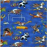 Fat Quarter die Spiele Olympia Sport Tiere Nutex, Baumwolle, Blau -