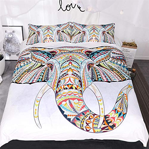 JNBGYAPS 3D Effect Printed duvet cover Painted elephant Bedding set with Pillocases (with Zipper Closure) Soft Microfiber Quilt Cover Single 135X200cm