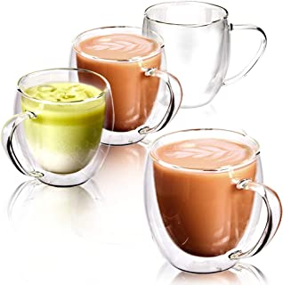 EZOWare Double Wall Coffee Mug Set, Clear Glass Thermal Insulated Cups with Handles for Hot or Cold Beverages, Espresso, Coffee, Tea, Cocoa, Latte, Cappuccino - Set of 4, 8oz