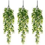XONOR Künstliche Hängepflanze verlässt Orchideen-Rattan-Grünpflanze-Orangenblatt-Blumen für Hausgarten-Wand-Dekorations-Dekor (Gelb, 3 Stück)