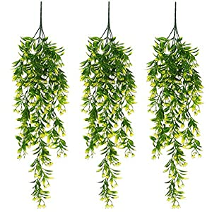 XONOR Artificial Hanging Plant Leaves Orchid Rattan Green Plant Orange Leaf Flowers for Home Garden Wall Decoration Decor (Yellow, Pack of 3)