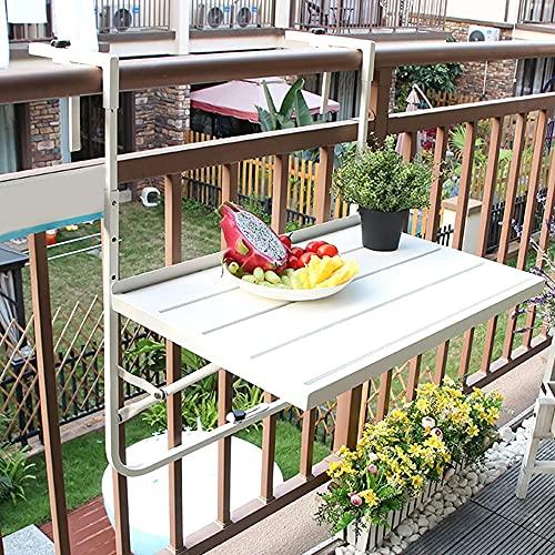 Mesa Barandilla Balcón Plegable, Mesa Barandilla Ajustable Fácil de montar e instalar para Balcones y terrazas pequeñas mesita