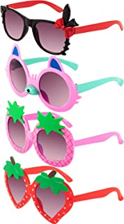 Frienda 4 Pairs Toddler Sunglasses for Toddler Girl Strawberry Shaped Sunglasses