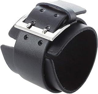 SODIAL(R) Bracciale Braccialetto Fascia in Cuoio Nero Unisex 45MM