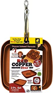 Red Copper Cookware 10- and 12-Inch Square Frying Pan Set of 2 by BulbHead