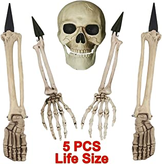 yosager Skeleton Stakes Realistic Skull and Arms Legs Halloween Yard Stakes, Indoor Outdoor Graveyard Lawn Decorations, Set of 5 Life Size