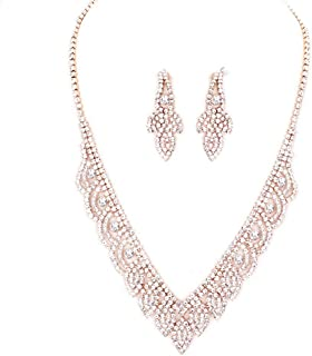 Elegant Peach Crystal Rhinestone Rose Gold Necklace Jewelry Earrings Set Prom Bride Pageant
