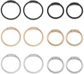 Zysta Set di 6 Paia Orecchini a Cerchio Anelli per Donna in Acciaio Inox 20ga 8/10mm Piercing per Corpo Naso Labbro Trago ...