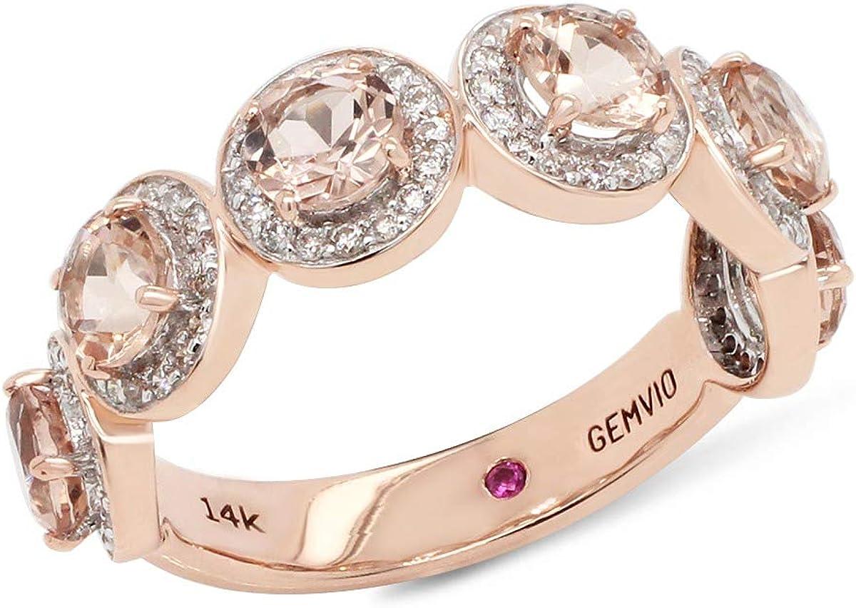 GEMVIO Collection 1.90 Cttw Half Eternity Halo Designer 4MM Round Morganite Gemstone And Diamond in 14K Gold Engagement Anniversary Bridal Wedding Band Ring