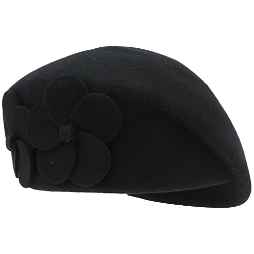 ACVIP Womens Wool Berets Stewardess Cap Pillbox Hat