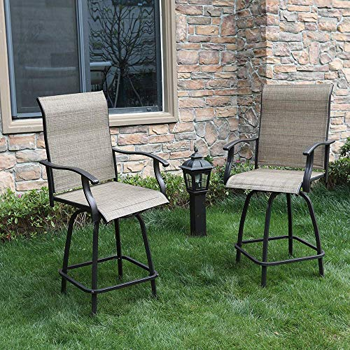 PHI VILLA 2 Piece Outdoor Swivel Bar Stools Height Bar Bistro Chair with All Weather Steel Frame