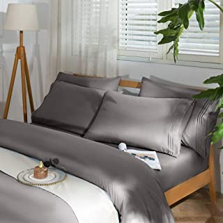 """SAKIAO -6PC King Size Bed Sheets Set - Super Soft and Comforterble Brushed Microfiber 1800 Thread Count Percale - 16"""" Deep..."""