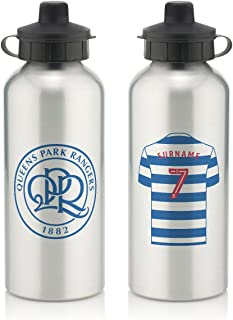 Official Personalized Queens Park Rangers FC Aluminium Silver Water Bottle with Spring Hook (600ml) - Free Personalization