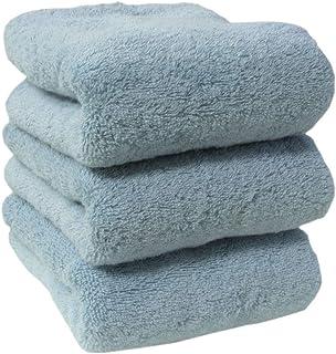 フェイスタオル タオル 3枚セット 35×80cm 綿100% 厚手 無地 丸洗い 夏タオル 吸水 通気性タオルケット ホテル ギフト デイリータオル バーゲン (3P・ライトブルー )